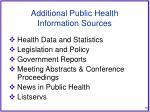 additional public health information sources