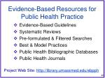 evidence based resources for public health practice