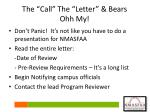 the call the letter bears ohh my