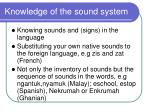 knowledge of the sound system