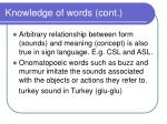 knowledge of words cont