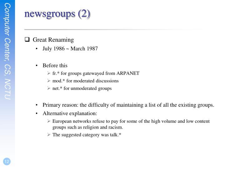 newsgroups (2)