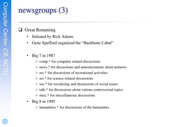 newsgroups (3)