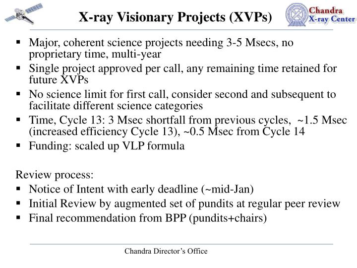X-ray Visionary Projects (XVPs)