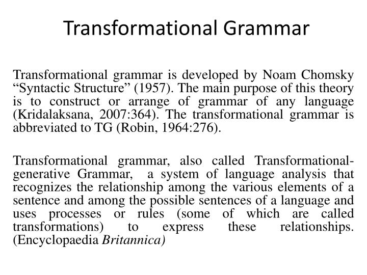 traditional generative grammar