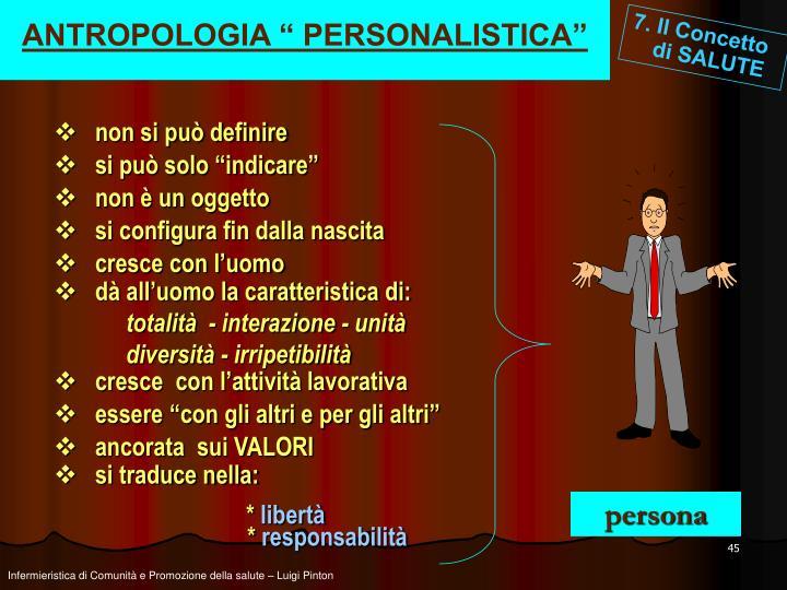 """ANTROPOLOGIA """" PERSONALISTICA"""""""