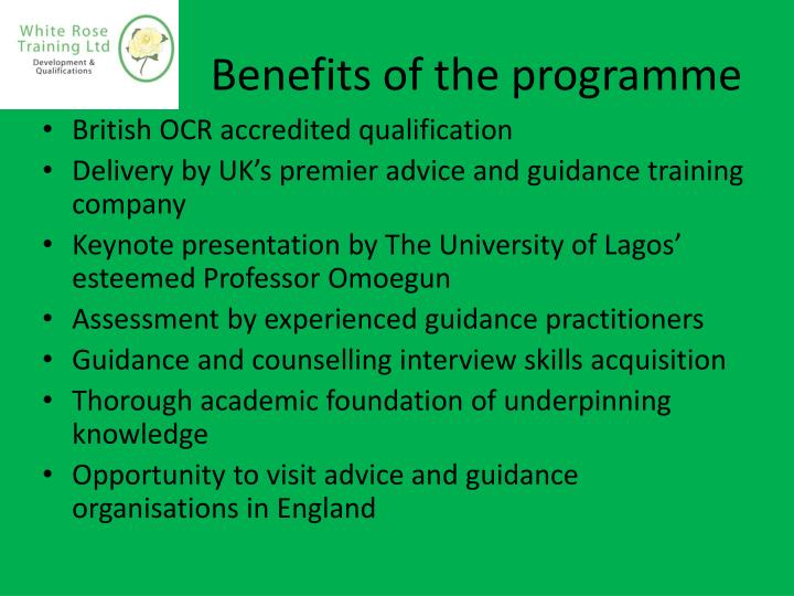 Benefits of the programme