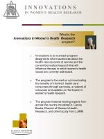i n n o v a t i o n s in women s health research3