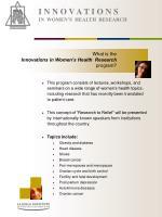 i n n o v a t i o n s in women s health research4