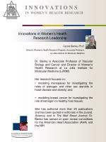 i n n o v a t i o n s in women s health research6