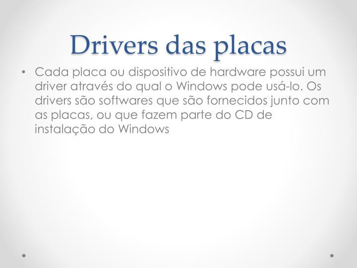 Drivers das placas