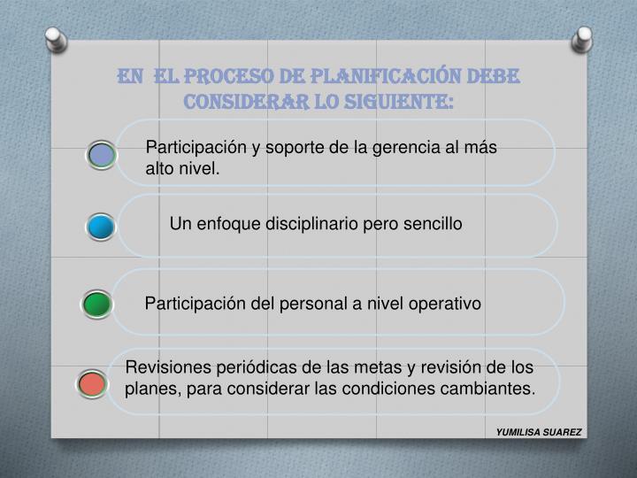 EN  EL PROCESO DE PLANIFICACIÓN DEBE CONSIDERAR LO SIGUIENTE:
