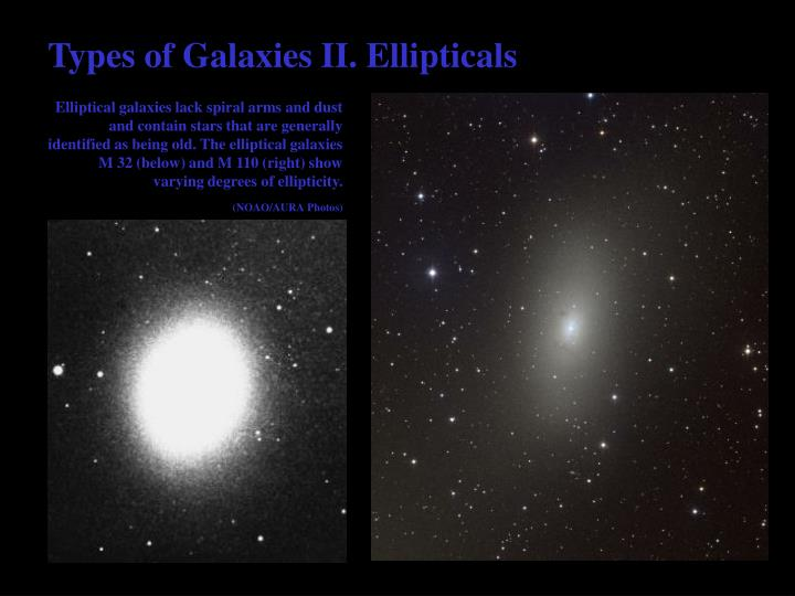 Types of Galaxies II. Ellipticals
