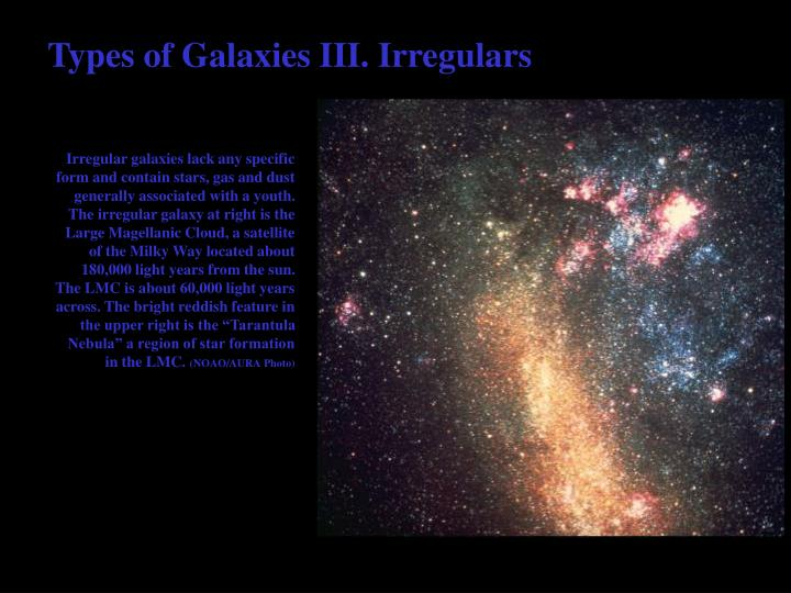 Types of Galaxies III. Irregulars