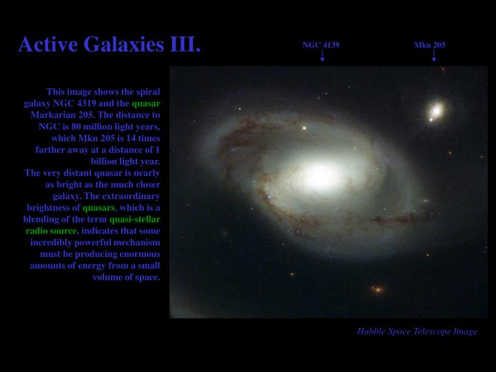 Active Galaxies III.