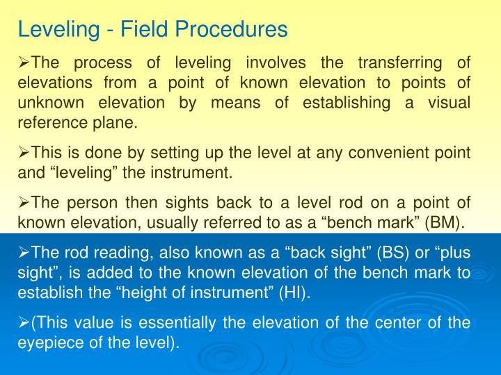 Leveling - Field Procedures