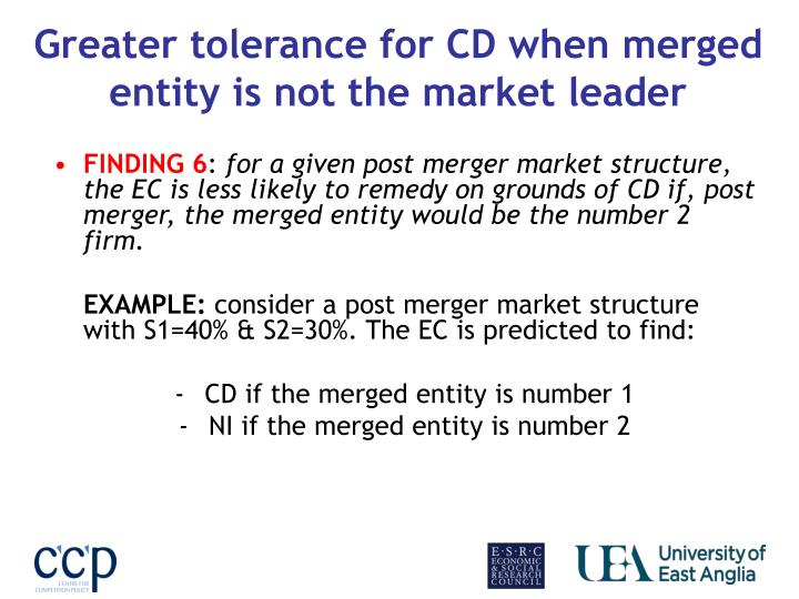 Greater tolerance for CD when merged entity is not the market leader