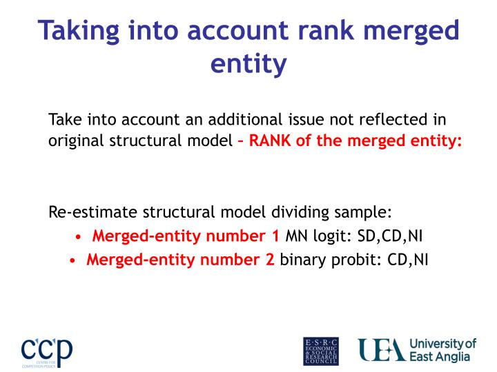 Taking into account rank merged entity