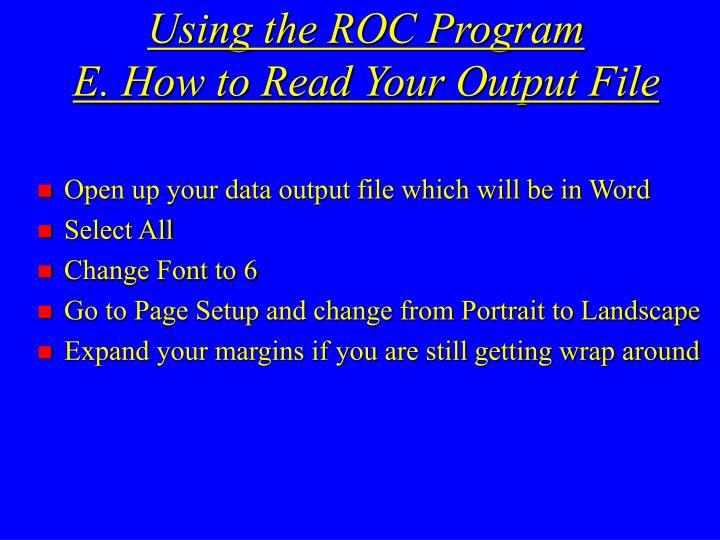 Using the ROC Program