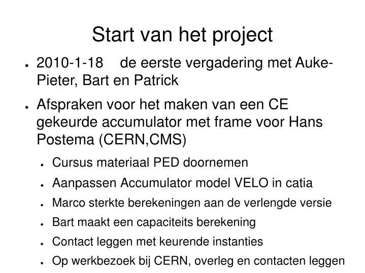 Start van het project