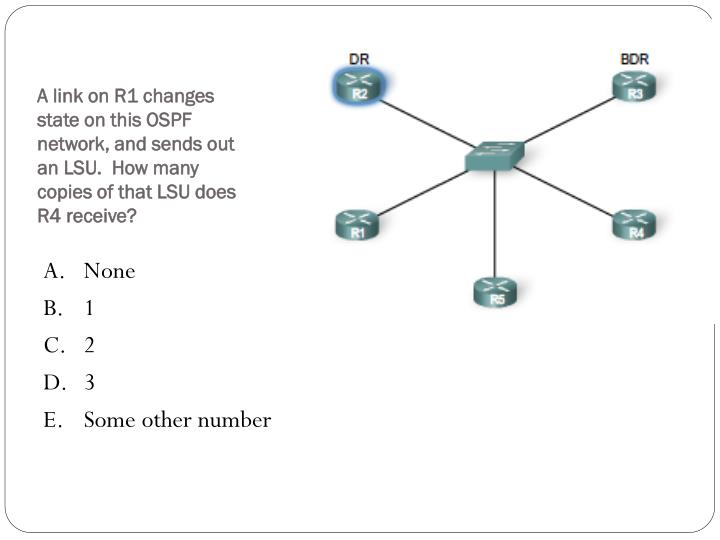 A link on R1 changes state on this OSPF network, and sends out an LSU.  How many copies of that LSU does R4 receive?