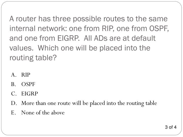 A router has three possible routes to the same internal network: one from RIP, one from OSPF, and one from EIGRP.  All ADs are at default values.  Which one will be placed into the routing table?