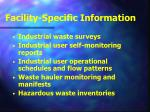 facility specific information