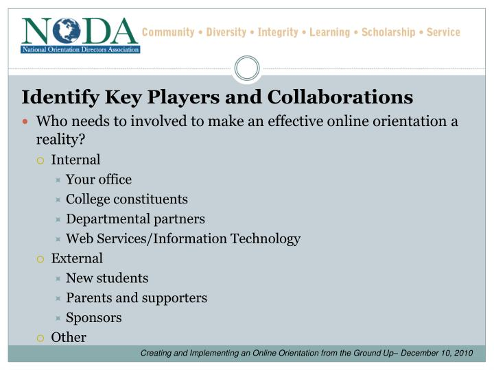 Identify Key Players and Collaborations