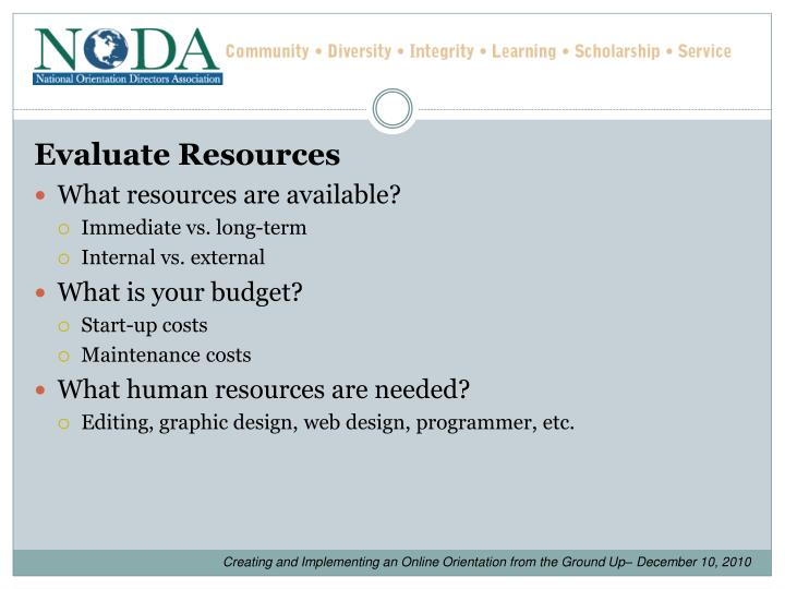 Evaluate Resources