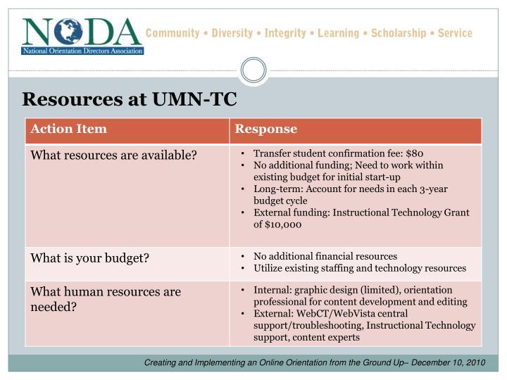 Resources at UMN-TC