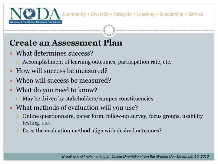 Create an Assessment Plan