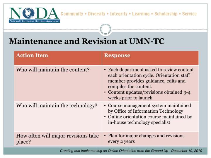 Maintenance and Revision at UMN-TC
