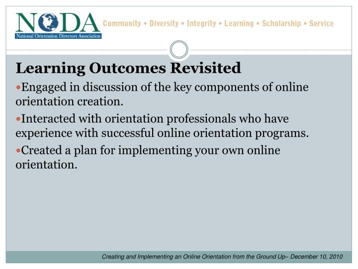 Learning Outcomes Revisited