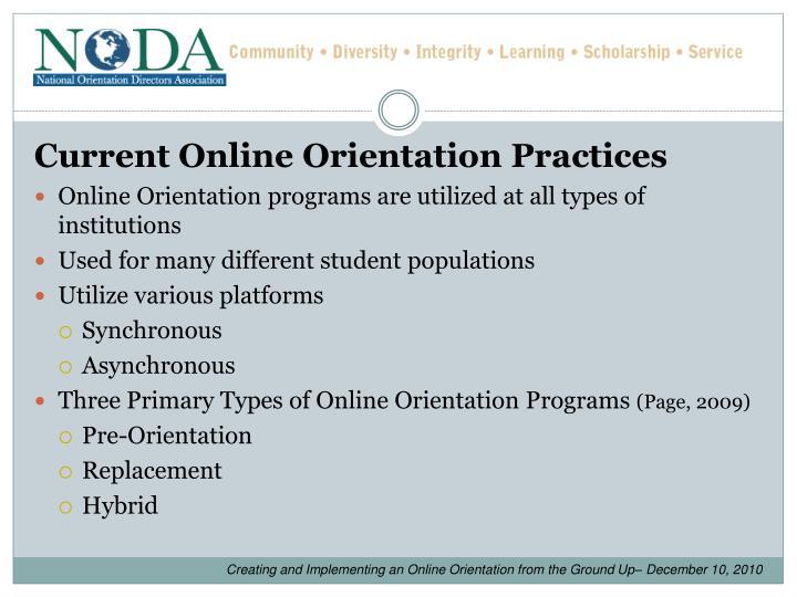 Current Online Orientation Practices