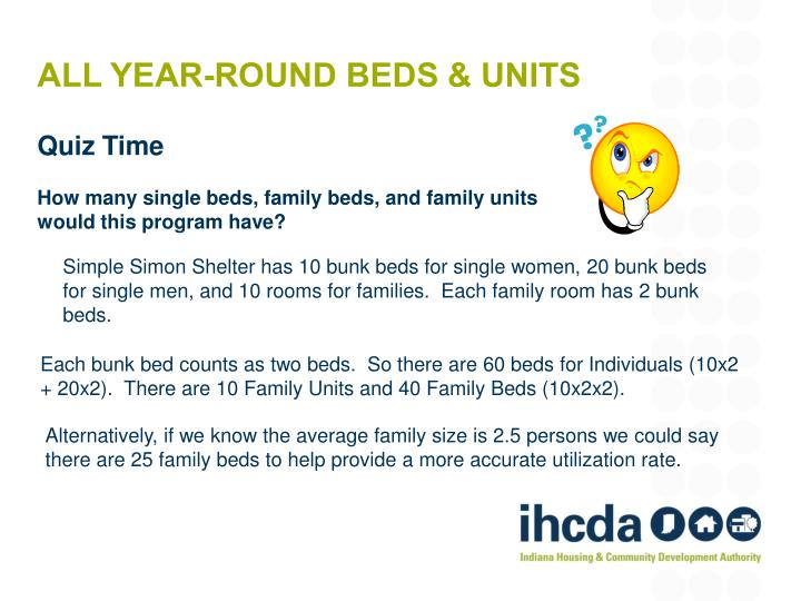ALL YEAR-ROUND BEDS & UNITS