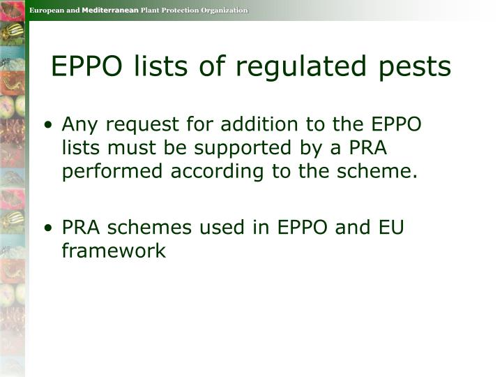 EPPO lists of regulated pests