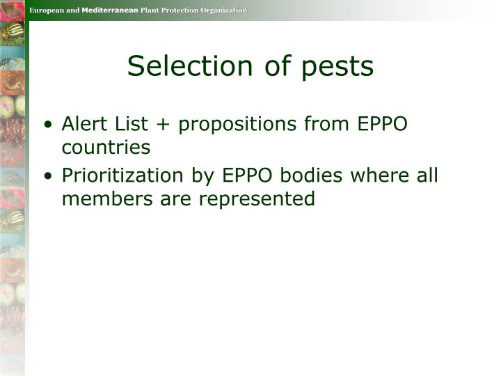 Selection of pests
