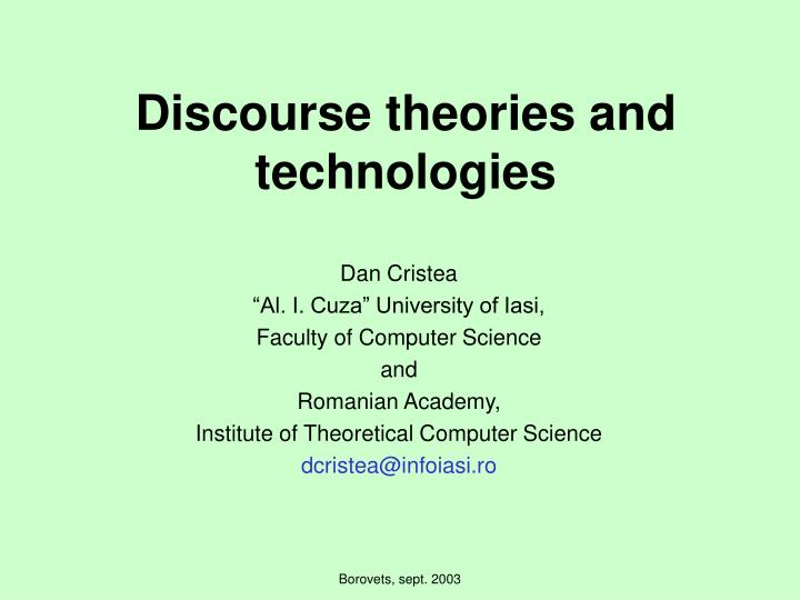 discourse theories and technologies n.