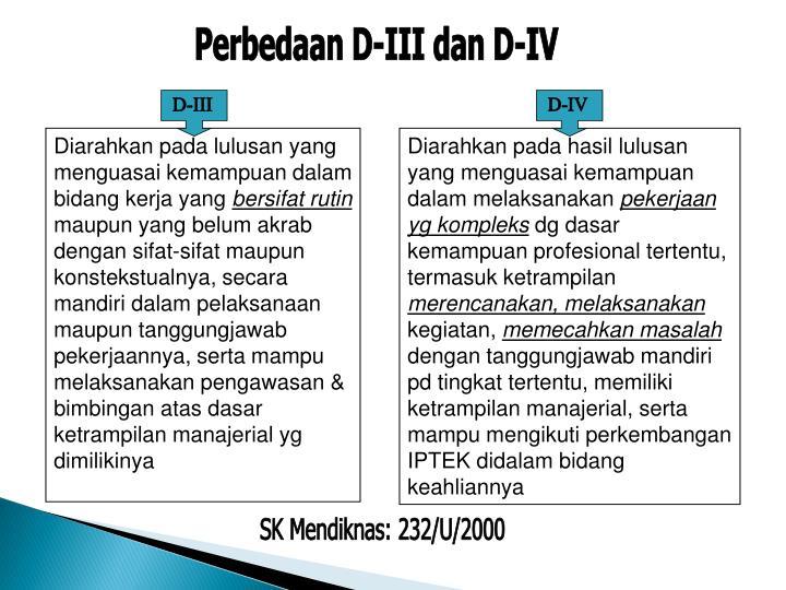 Perbedaan D-III dan D-IV