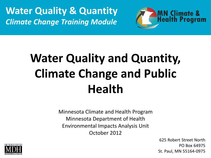 water quality and quantity climate change and public health n.