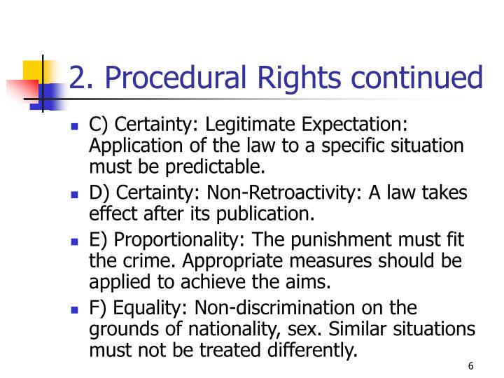 2. Procedural Rights continued