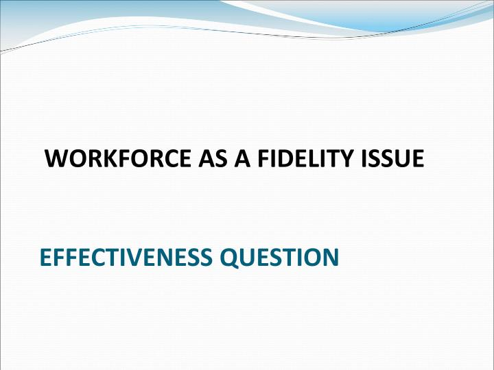 WORKFORCE AS A FIDELITY ISSUE