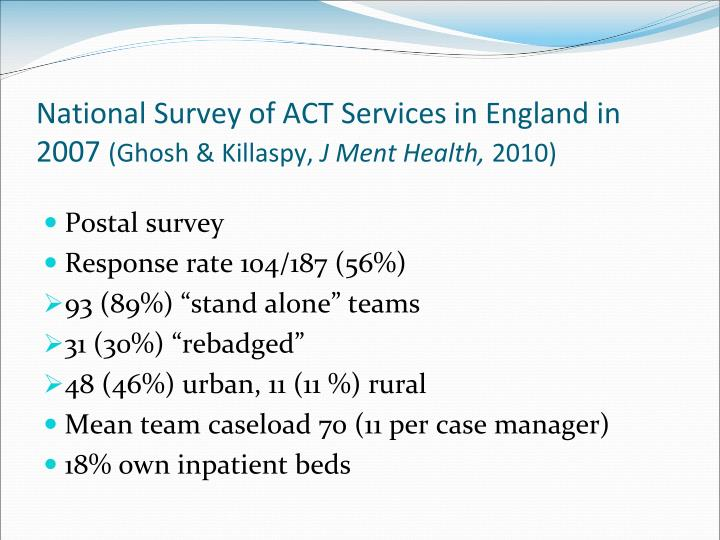 National Survey of ACT Services in England in 2007