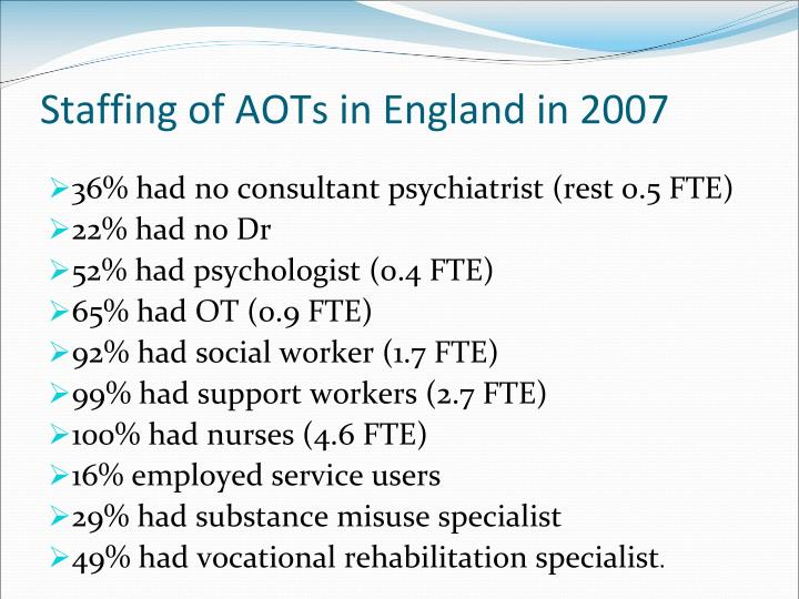 Staffing of AOTs in England in 2007