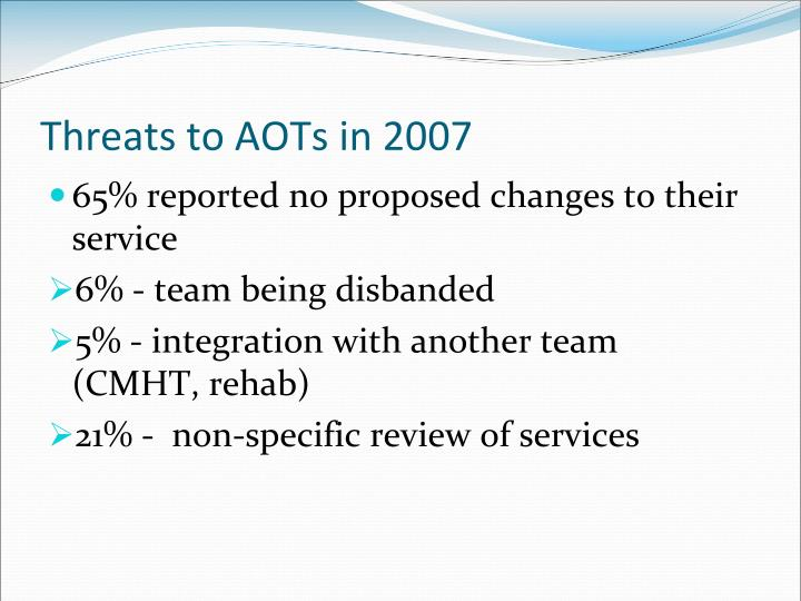 Threats to AOTs in 2007