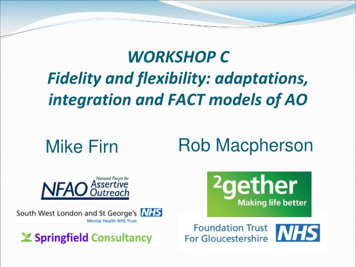 Workshop c fidelity and flexibility adaptations integration and fact models of ao