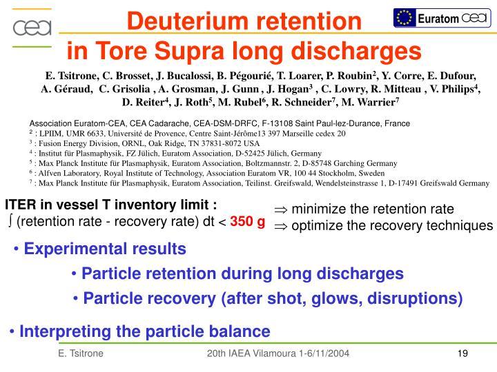 Deuterium retention