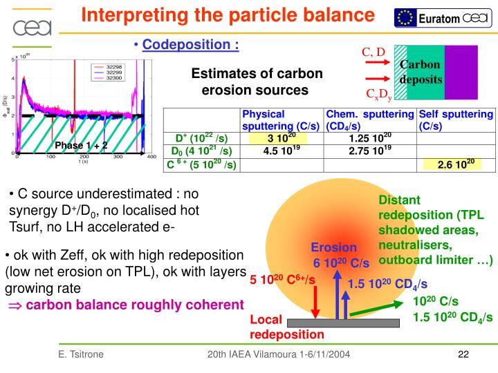 Interpreting the particle balance