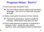 progress notes dont s