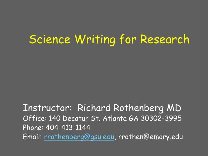 science writing for research n.